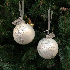 Boule de Noël Blanche argenté