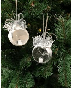 Boule de Noël Blanche ouverte transparente